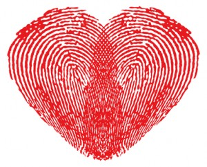 Romantic heart made of fingerprints