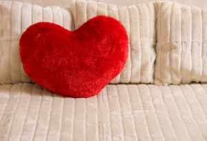 Fluffy soft red heart