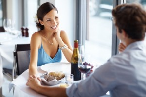 Attractive young woman on romantic date with her sweetheart